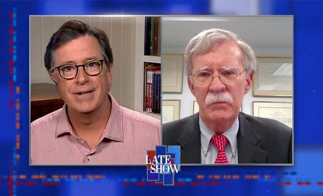 "Stephen Colbert Interviews John Bolton, Calls Him ""Naive"" For Not Realizing Trump's ""Callow"" Nature"