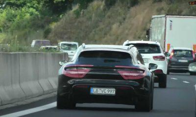 Porsche Taycan Cross Turismo Briefly Spied With Odd Camo