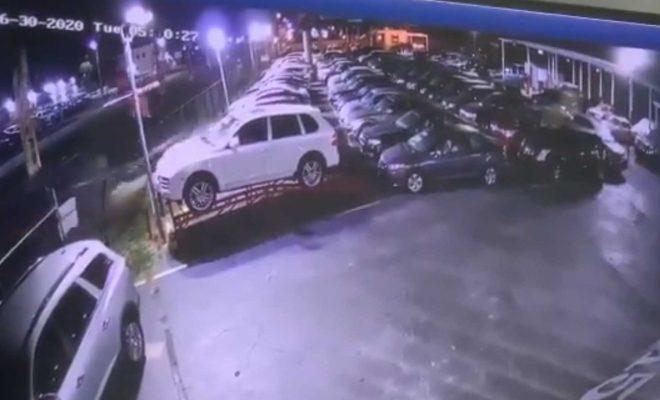Watch Cadillac Eldorado Slam Into A Used Car Lot